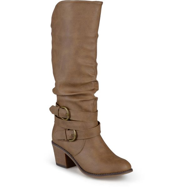 Journee Collection Women's 'Late' Buckle Slouch High Heel Boots ($74) ❤ liked on Polyvore featuring shoes, boots, tan, chunky heel knee high boots, high heel platform boots, mid-calf boots, pull on leather boots and knee high leather boots