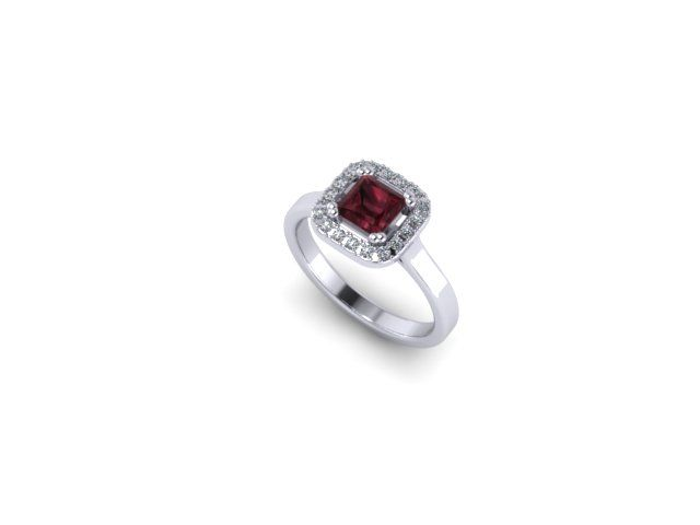 Colour Collection - Garnet, diamond and White Gold Ring