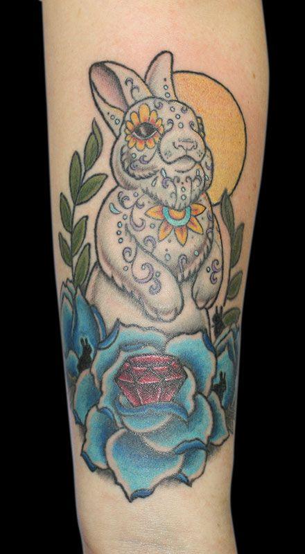 Sugar bunny by Amanda Meowzen @Osmosis Tattoo. It looks maneki neko esque too! I love it.
