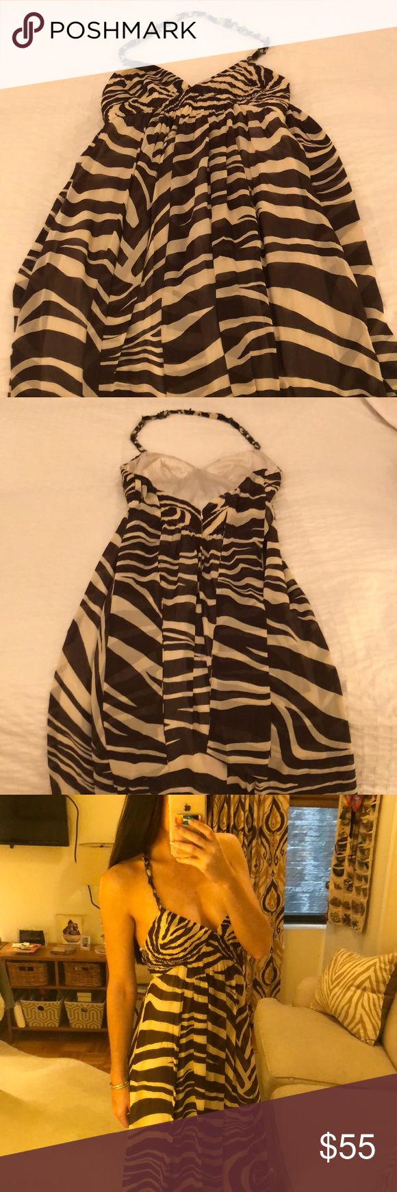 BCBG animal print long dress BCBG Maxazria halter dress is long and flowy and perfect for weddings. The print is super fun as well. BCBGMaxAzria Dresses Maxi
