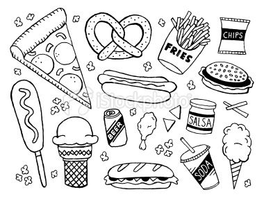 Junk Food Doodles Royalty Free Stock Vector Art Illustration