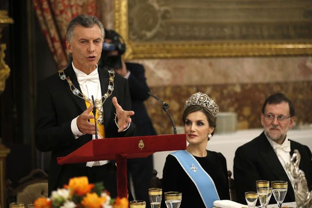 Queen Letizia of Spain, Mauricio Macri, and the Prime Minister of Spain, Mariano Rajoy Brey. Gala Dinner in honour of Argentina's President Mauricio Macri and his wife at the Royal Palace on February 22, 2017 in Madrid, Spain.