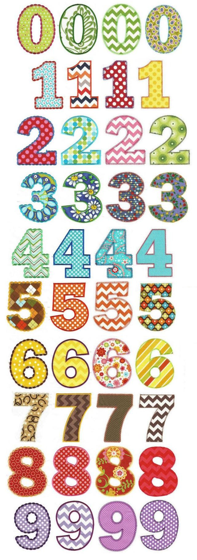 Chunky Numbers Applique design set available for instant download at designsbyjuju.com