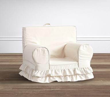 Metallic Linen Ruffle Anywhere Chair® #pbkids  Embry- pink thread swirly font