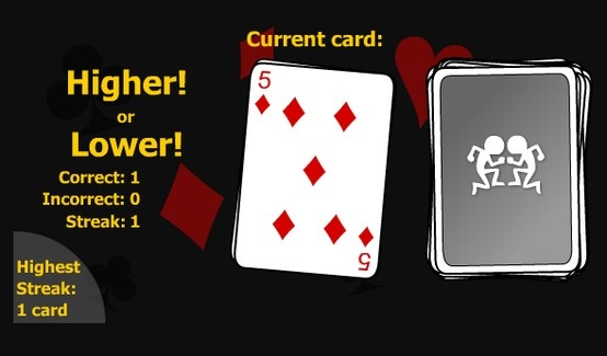 Test your brain by predicting what cards will be drawn next! Go on a streak! Play for free!