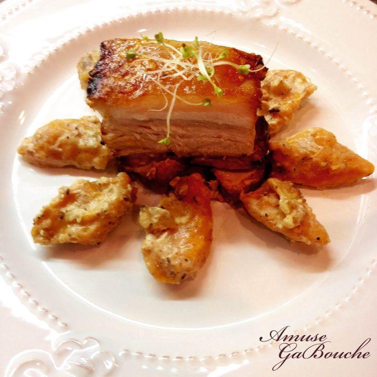 Crispy Pork Belly and Sweet Potato Gnocchi with Walnuts