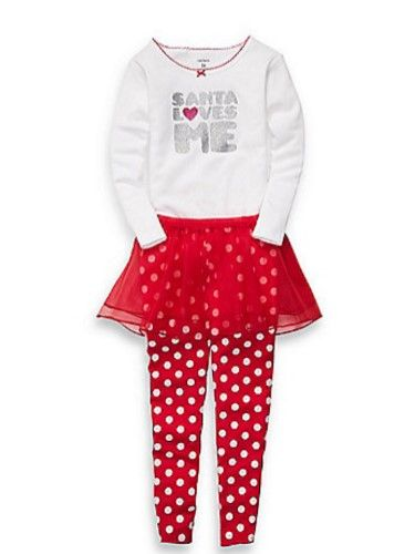 Carters Infant Girls Red Santa Love Me Outfit Pants Tutu Skirt Glitter Shirt 24m, Infant Girl's, Size: 24 Months