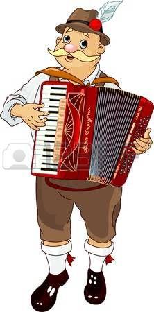 Músico Oktoberfest Alemania juego acordeón