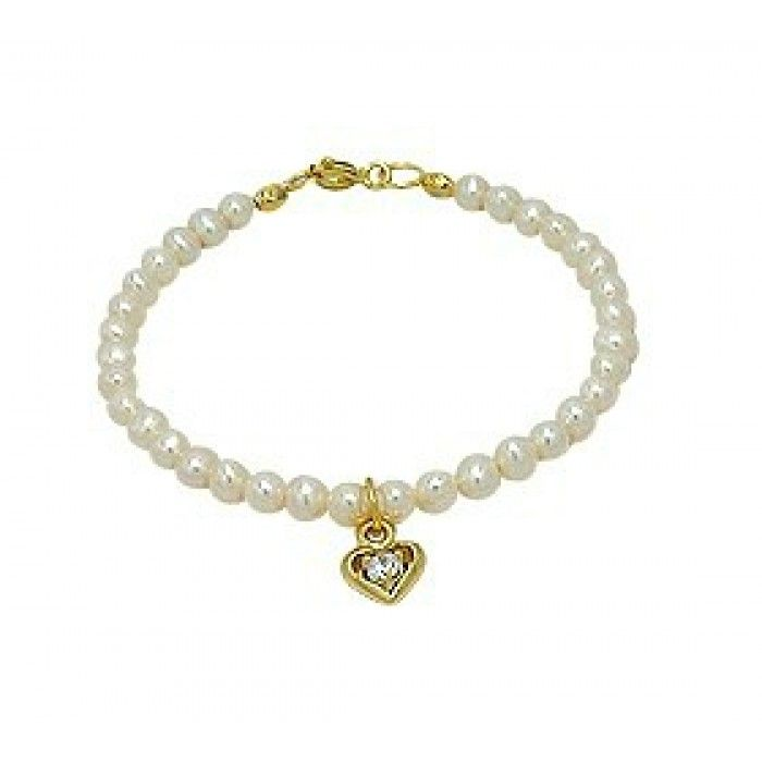 Baby and Children's Bracelets:  14k Gold Over Sterling Silver/Freshwater Pearl Bracelets with Heart Charm