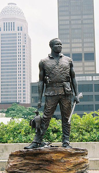 Andrew York, black slave to William Clark and who was an invaluable member of the Lewis & Clark Expedition.  A hunter & explorer, he helped to survey and even saved the lives of others in the expedition on numerous occasions. What must it have been like to return to slavery after 2 years of greater respect...to be the only member of the expedition not to receive recognition, money and land let alone his freedom. (This statue by Ed Hamilton stands on the Riverfront Plaza in Louisville…