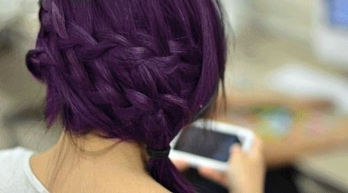 THIS is what I want.: French Braids, Purple Braids, Purple Hair, Hair Colors, Double Braids, Hairstyle, Hair Style, Dark Purple, Side Braids