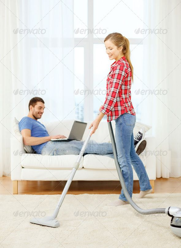 smiling woman with hoover and man with laptop ...  Technolohy, adult, attractive, beautiful, carpet, cleaner, cleaning, computer, couple, dirty, domestic, dust, dusty, electric, family, female, girl, home, hoover, hoovering, house, household, housewife, housework, husband, internet, laptop, lazy, life, lifestyle, man, mess, modern, new, people, person, pretty, relationships, relaxing, room, smile, sofa, technology, vacuum, vacuuming, wife, woman, work, working, young