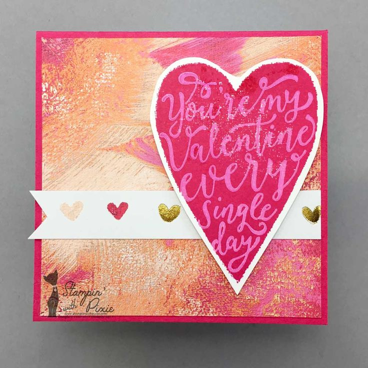 """Stampin' With Pixie Mini Valentine Card (3""""x3"""") made using Stampin' Up! Sure Do Love You Bundle and Painted With Love Specialty Designer Series Paper.  A cute little card packed with love.  Click through to see the gorgeous specialty paper and the amazing stamp/die Bundle used to make it."""