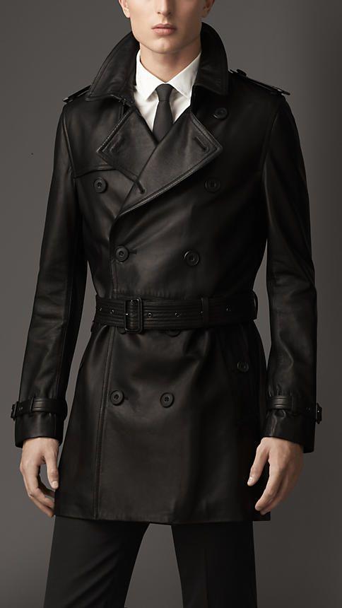 Black Nappa Leather Trench Coat - Image 1