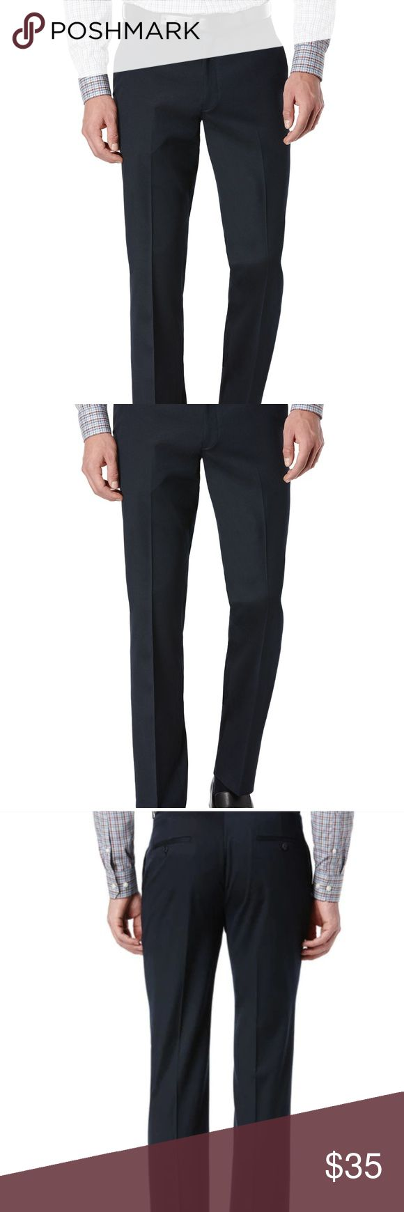 Perry Ellis Slim Fit Dress Pants Mens 36 x 30 New with Tags Men's Perry Ellis Dress Pants Wrinkle Resistant  Flat Front Navy Blue Textured Size 36 x 30 Pockets 100% Polyester New condition Nonsmoking home 042354104744 Perry Ellis Pants Dress