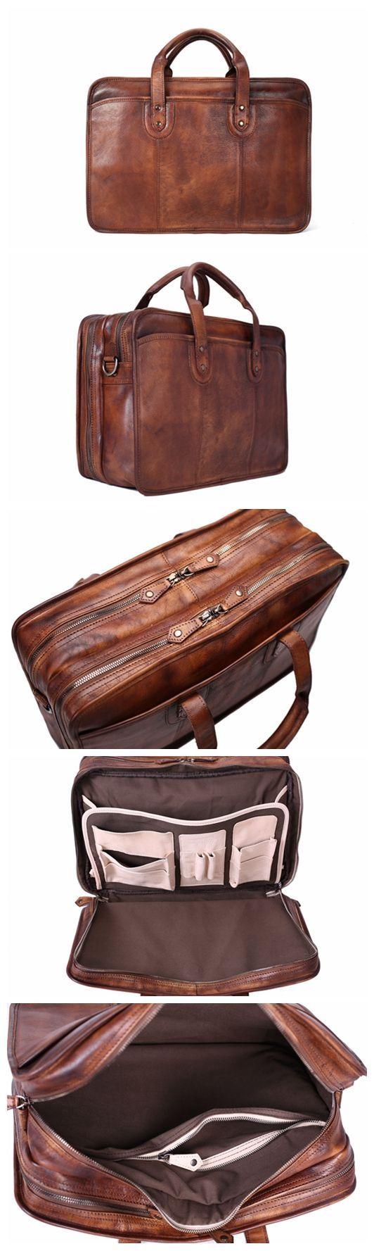 Handmade Vintage Full Grain Leather Mens Briefcase, 16'' Laptop Bag, Business Handbag
