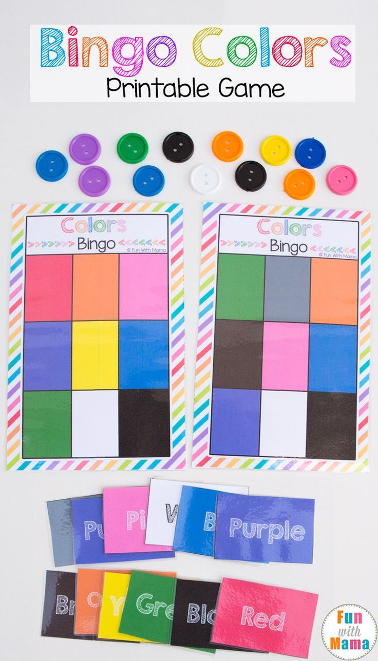 Game color squares - Printable Bingo Colors