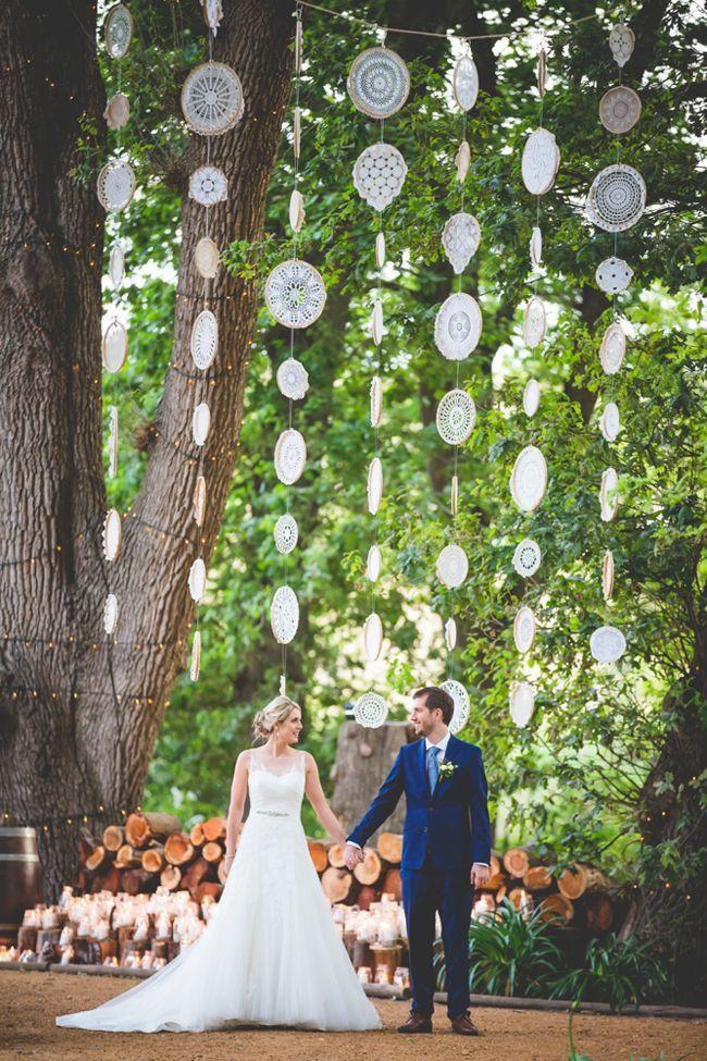 What do you think of these doily garlands? Super easy DIY! Elegant Forest Wedding | SouthBound Bride | www.southboundbri... Credit: Kobus Tollig
