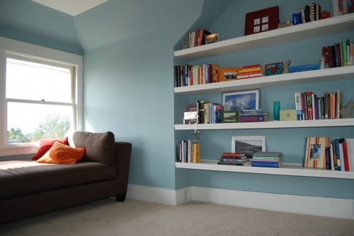 Floating shelves for western wall in living room