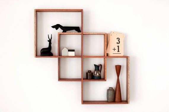 3 Shadow Box display cabinet to display your treasures.Wall hanging shelf wood round art retro modern vintage handmade solid wood shelves