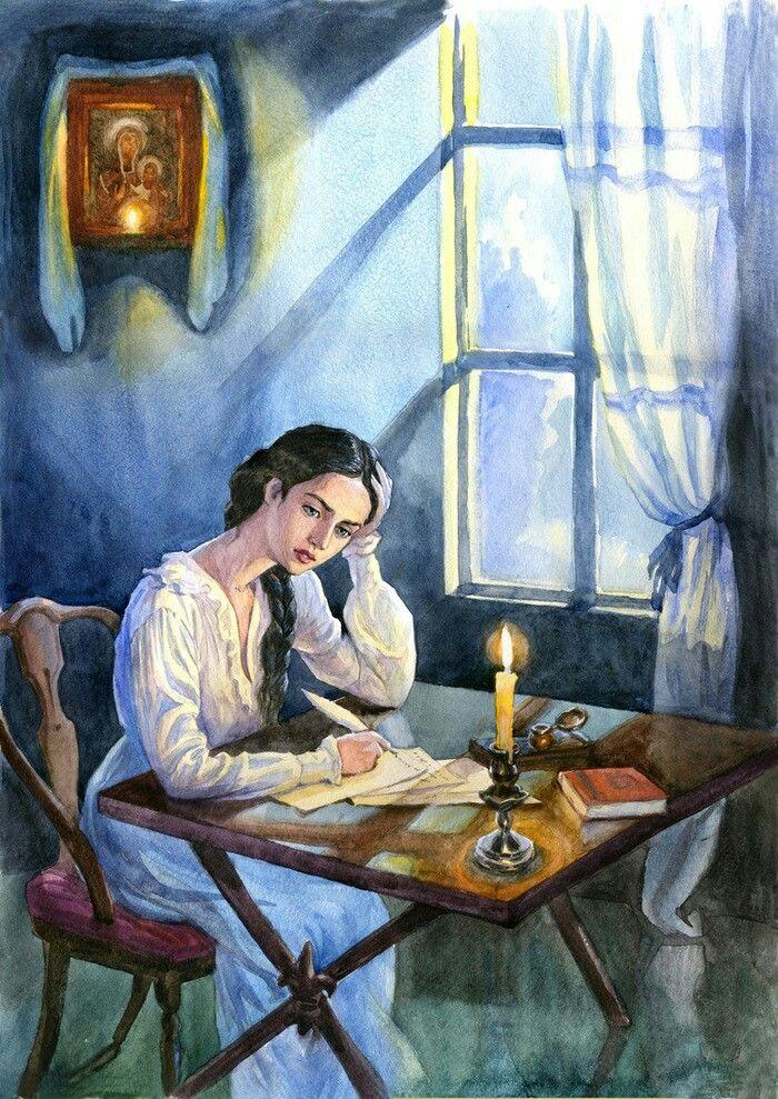 Девушка пишет стихи картинка