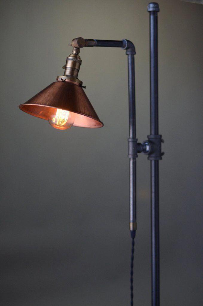 Adjustable Floor Lamp Copper Shade Industrial Lamp Rustic