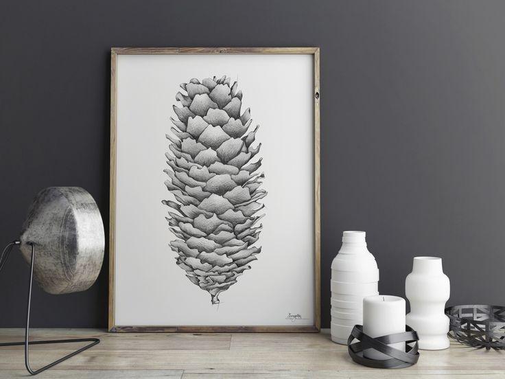 """Grankongle"" (Pine cone) Copyright: Emmeselle.no Illustration by Mona Stenseth Larsen"
