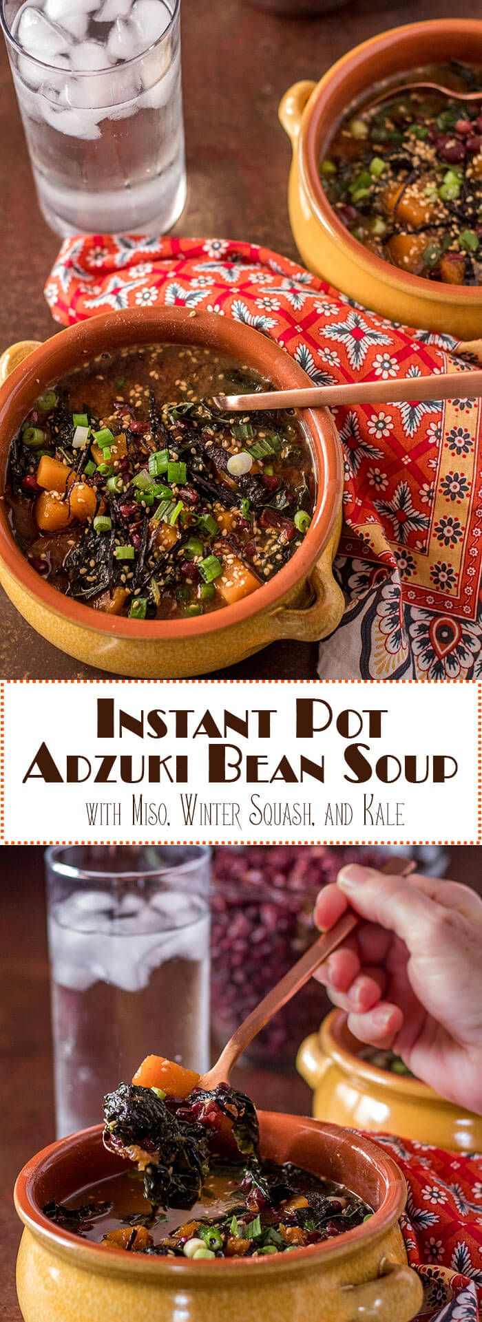 Adzuki beans are not just for sweet Asian-inspired treats!Instant Pot Adzuki Bean Soup with Miso, Winter Squash, and Kale combines nutrient-rich adzuki beans with a Japanese-style miso broth and hearty fiber-rich vegetables in a soul-warming vegan and gluten free soup...Bob's Red Mill | Instant Pot Recipes | Vegan Soups | Adzuki Beans | Vegetarian | Gluten Free via @TamaraBMS