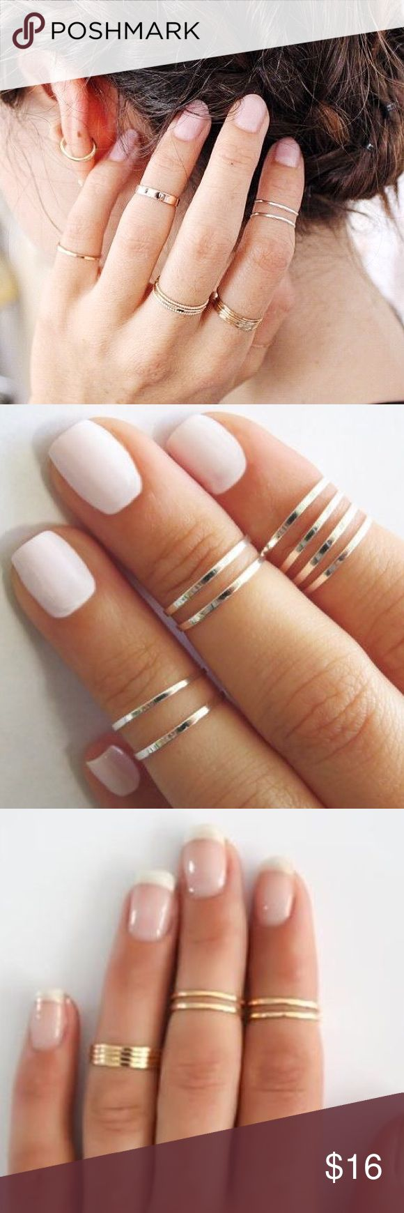 Set of 5 Midi Rings Set of 5 midi rings in either gold tone or silver tone.  Stack with other rings to complete your boho look!  NWOT, never worn.  Boutique brand.  Listing is for one set of 5 rings. Charm City Jewelry Rings