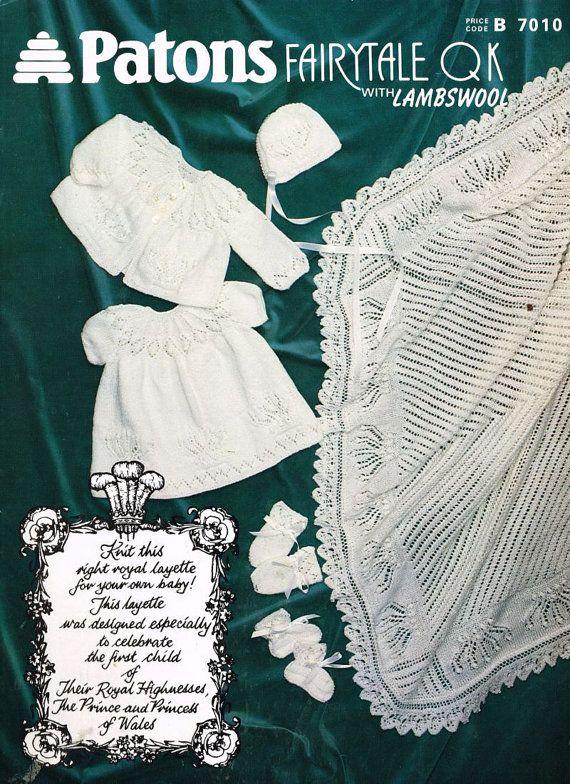 Royal Baby Dress Knitting Pattern : royal baby layette vintage knitting pattern incl shawl PDF ...