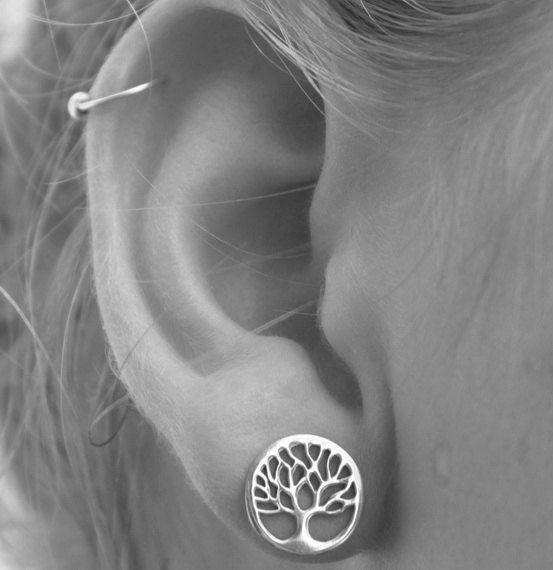 Sterling silver Tree of Life Earrings 925 Studs by HeartCoreDesign