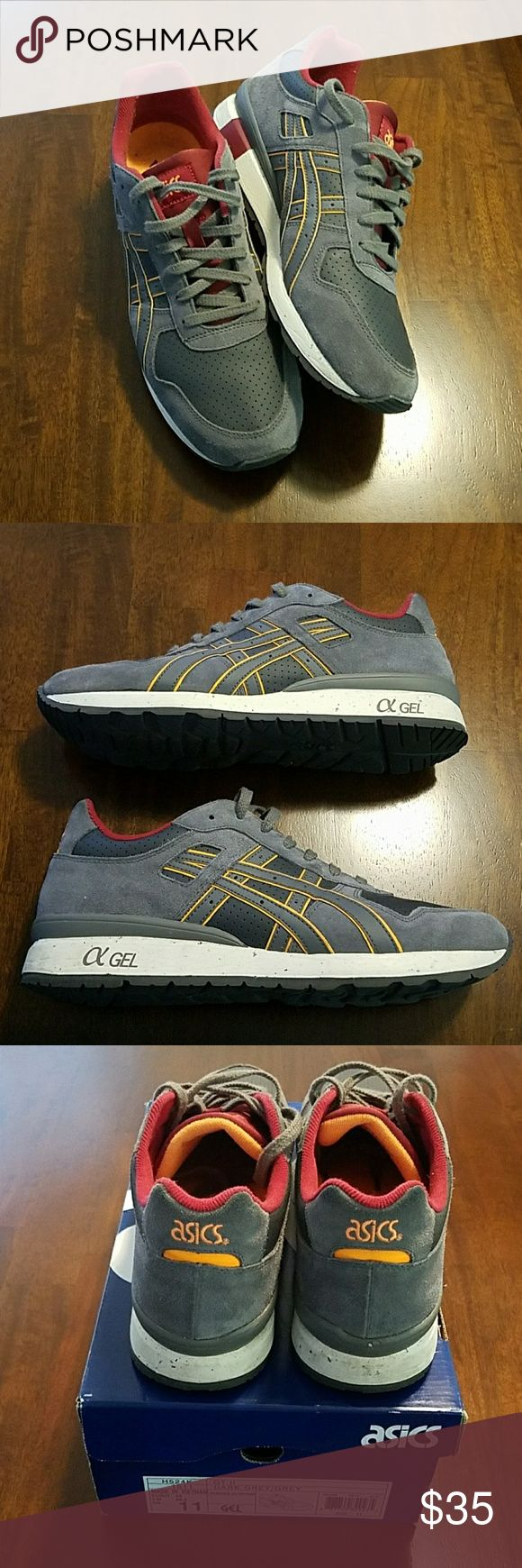 Asics GT II shoes Asics GT - II shoes. Great casual fashion shoes very lightly worn. Color is gray with accents of maroon and light orange. Only blemish is in the last picture with small Nick in right back midsole. Comes with original box. Asics Shoes Sneakers