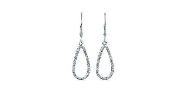 10K white gold teardrop shaped drop earrings with lever backs and 0.15 carat in diamonds - $449.00 #PoagWishLIst