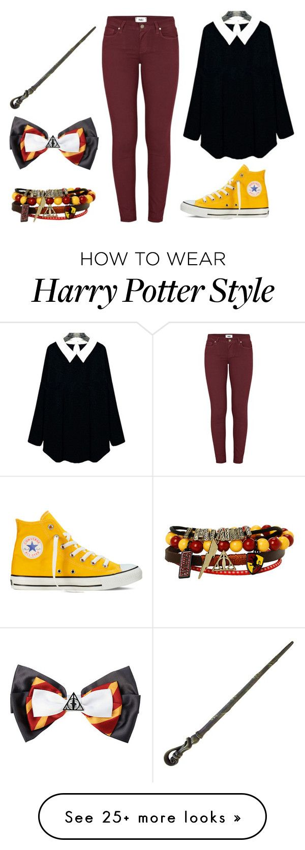 """Gryffindor"" by bandumb on Polyvore featuring Converse, Paige Denim, harrypotter, hogwarts, Gryffindor and plus size clothing"
