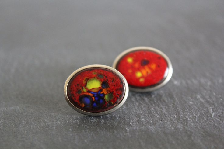Vintage Oval Cuff Links Vibrant Red Sky Mens Accessories Gift Idea for Him by CakeNumber9 on Etsy