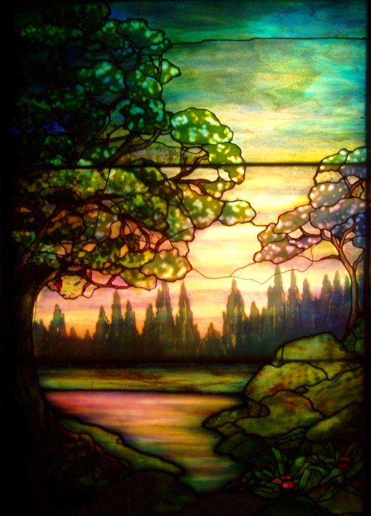 'Evening Landscape' by Tiffany Studios (c.1910), at the Richard H. Driehaus Gallery of Stained Glass, Chicago, Illinois, USA. Original Photo: Daderot (PD)