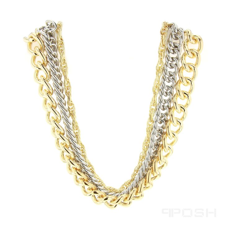 - High quality stainless steel chain necklace - Multi length design with a 2-tone finish - All metals are IP plated - Lobster clasp closure with extender - Length: 20 inch, Extender: 4 inch  POSH Vibe Collection - Everyone, Everywhere, Every Occasion.