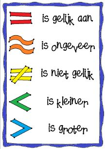 REKENTEKENS   Wat wordt er nou ook alweer bedoeld met het = teken? Wat is het verschil tussen < en > ook alweer? En welk teken gebruik ik voor een uitkomst die ongeveer goed is?    Voor veel kinderen zijn deze tekens best ingewikkeld. Deze poster, waar de belangrijkste vijf op uitgelegd zijn, kan ze daar wellicht mee helpen!