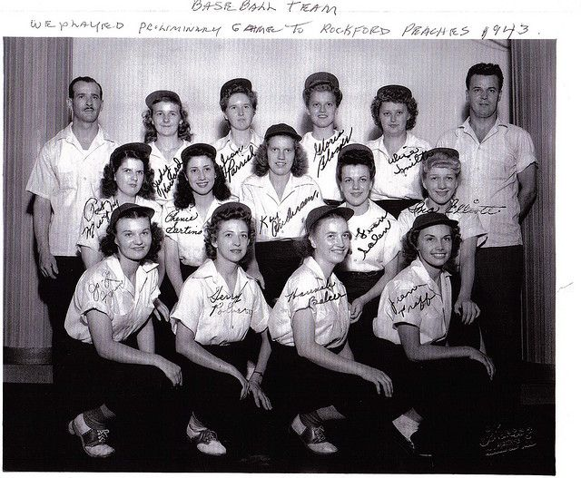 "The original Rockford Peaches 1943 All-American Girls Professional Baseball League ~ They inspired the film ""A League of Their Own."""