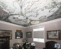 Sharon's office, GTA, Ontario, Canada. Laqfoil digitally printed stretch ceiling featuring Amsterdam cartographer Gerard van Schagen's 1689 world map. Installed summer 2013.