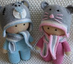 Russian crocheted dollies w/animal hats. Cuuute!!! (inspiration)