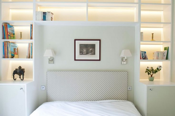 Bedroom Applied Open Bookcase at Gardens House with Patterend Headboard and…