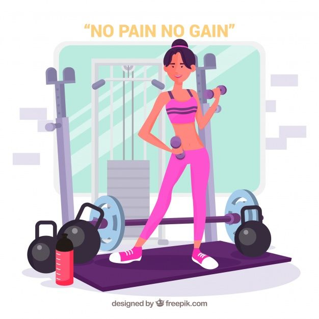 Sport gym background with people training #Free #Vector