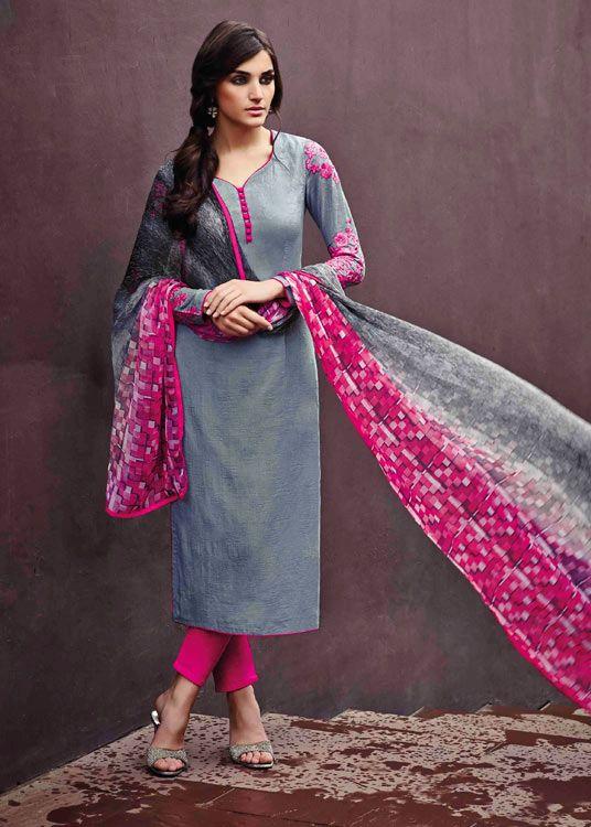 USD 56.42 Gray Cotton Jacquard Churidar Suit 48128