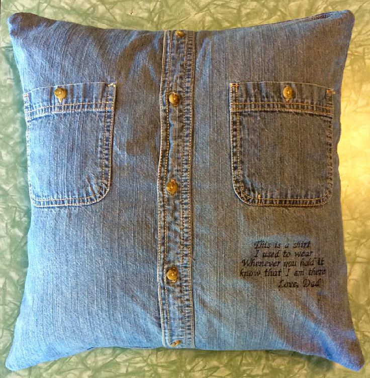 "Memorial Keepsake Pillow $25 You supply the button down shirt from a loved one -- We supply the pillow form, the conversion from shirt to pillow and a short embroidered sentiment of your choice. (16""x16"" Shown) Contact us for details if you would like us to make one for you or someone you know. www. tfqqs.com. Facebook - ""The Fat Quarter Quilt Studio"""