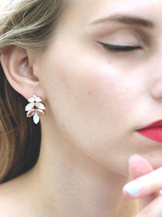 Rose Gold Earrings, Bridal Earrings, Bridal Rose Gold Earrings, Swarovski Bridal Earrings by ilona rubin
