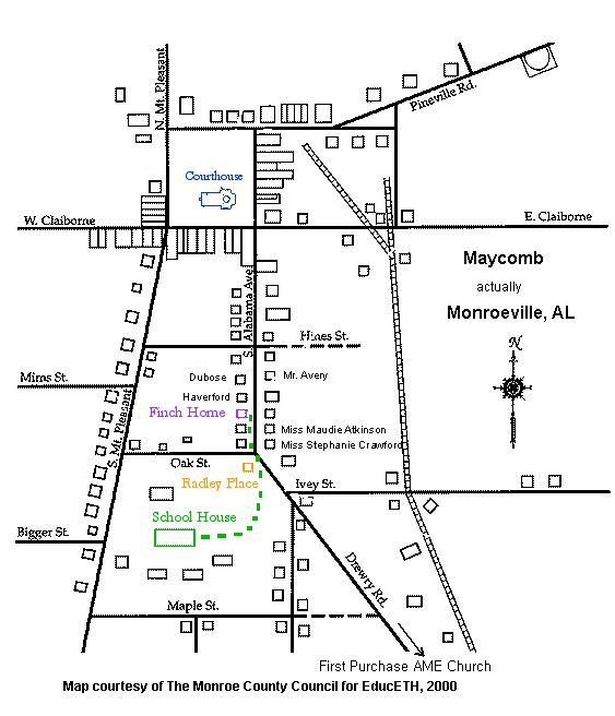 To Kill a Mockingbird: map of Maycomb. Students love visuals! Here ...