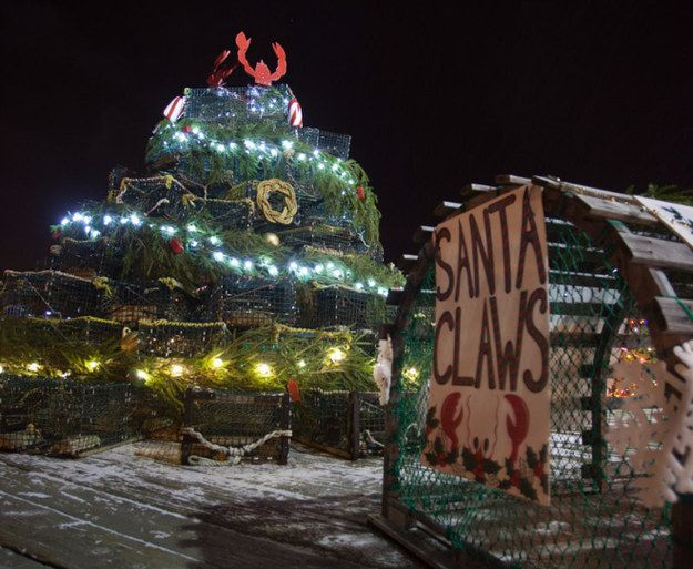"This lobster trap Christmas tree, featuring ""Santa Claws."" 