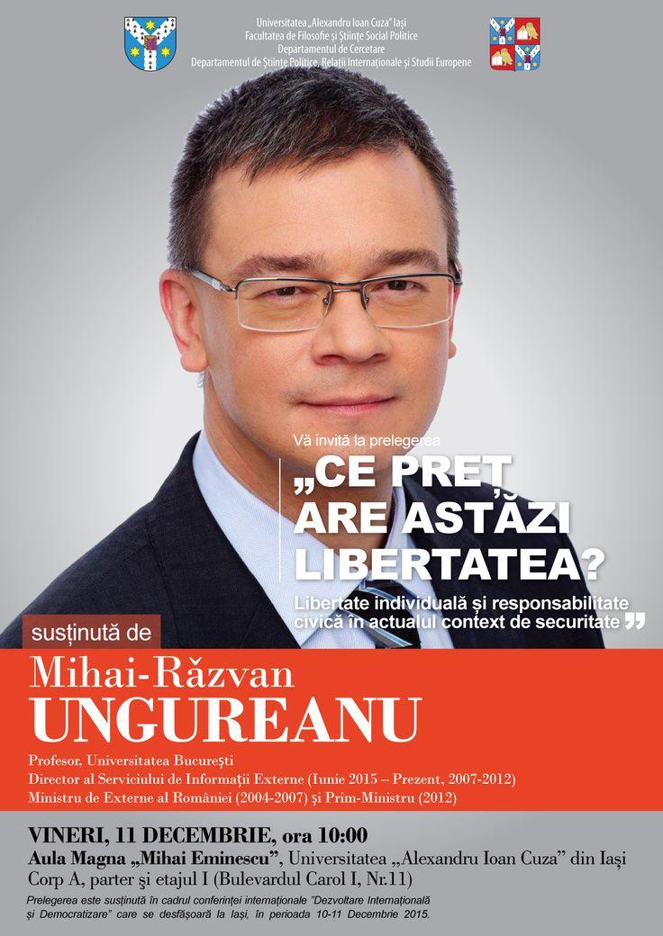 """Mihai Razvan Ungureanu sustine prelegerea """"Ce pret are astazi libertatea"""""""