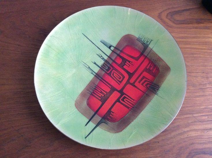 Vintage Midcentury Modern Quebec Enamel Plate / Charger / Signed / Retro